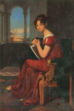 Portrait of a young woman with a drawing instrument
