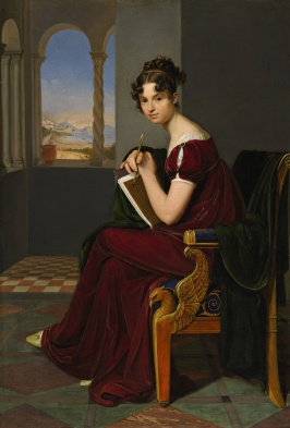 Portrait of a young woman with a drawing instrument by Carl Christian Vogel von Vogelstein (1788-1868)